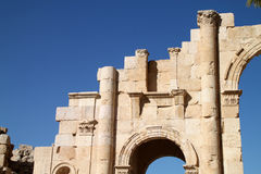 Hadrian's Arch of Triumph in Jerash, Jordan. Jerash is known for the ruins of the Greco-Roman city of Gerasa, also referred to as Antioch on the Golden River. It Stock Photography