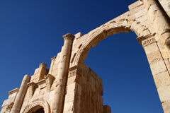 Hadrian's Arch of Triumph in Jerash, Jordan. Jerash is known for the ruins of the Greco-Roman city of Gerasa, also referred to as Antioch on the Golden River. It Stock Images
