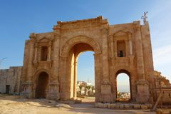 Hadrian`s Arch, a triumphal arch built for the visit of the Emperor Hadrian in 129 AD in the archaeological city of Jerash, one o royalty free stock images