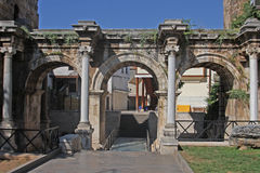 Hadrian's gate in Antalya Stock Image