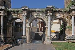 Hadrian's gate in Antalya. Roman emperor, Hadrian's marble gate in the wolrd heritage town center of Antalya stock image