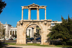 Hadrian`s gate, Athens historical center, Greece. Royalty Free Stock Images