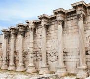 Hadrian's Library, Athens, Greece. Corinthian columns of the ruins of the Hadrian's Library in the Roman Forum of Athens, Greece Royalty Free Stock Images