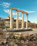 Hadrian's Library below Acropolis of Athens in Greece Stock Image