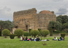 Hadrian`s Villa. Villa Adriana in Italian was constructed at Tibur as a retreat from Rome for the Roman Emperor Hadrian during the early 2nd century AD.  Tibur Royalty Free Stock Photography