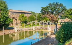 Canopo at Hadrian`s Villa, large Roman archaeological complex at Tivoli, province of Rome, Lazio, central Italy. Hadrian`s Villa is a large Roman archaeological Royalty Free Stock Photo