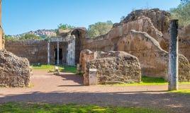 Hadrian`s Villa, large Roman archaeological complex at Tivoli, province of Rome, Lazio, central Italy. Hadrian`s Villa is a large Roman archaeological complex Stock Photos