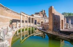 Maritime Theatre at Hadrian`s Villa, large Roman archaeological complex at Tivoli, province of Rome, Lazio, central Italy. Hadrian`s Villa is a large Roman Stock Photos