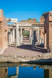 Maritime Theatre at Hadrian`s Villa, large Roman archaeological complex at Tivoli, province of Rome, Lazio, central Italy. Hadrian`s Villa is a large Roman Royalty Free Stock Images