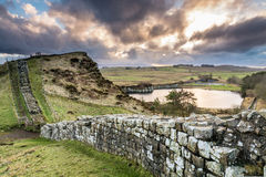 Hadrian's Wall above Cawfield Quarry Stock Photos