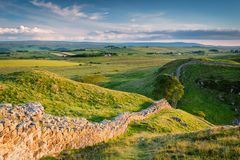 Hadrian`s Wall above Steel Rigg Stock Image