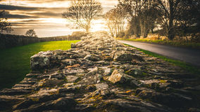 Hadrian`s Wall. At Banks East Turret during a sunset in winter Stock Photos