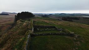 Hadrian`s wall defense tower gate homestead. Created by dji camera royalty free stock image