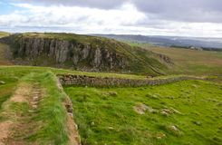 Hadrian`s Wall in the Englsih Countryside stock photo