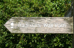 Hadrian's Wall Path Sign. Stock Images