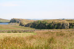 Hadrian's Wall and Peel Crag from Steel Rigg. Stock Photos