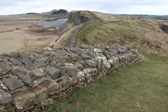 Hadrian's Wall. Stretches over the landscape near the Housesteads Stock Photos
