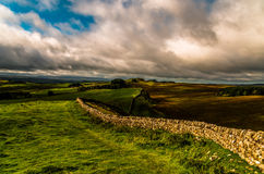 Hadrian's Wall. View of the Hadrian's Wall Path in Northern England Royalty Free Stock Photos