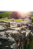 Sunflare at Hadrian`s Wall Stock Photos