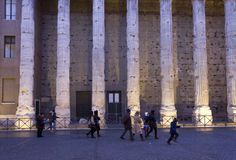 Hadrian temple colonnade in Rome Stock Images