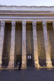 Hadrian temple colonnade in Rome at sunset Stock Photography
