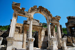 The hadrian temple in Ephesus. Tourism in Ephesus in Turkey Royalty Free Stock Images