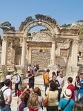Hadrian Temple, Ephesus, Turkey. Unidentified tourists visiting Hadrian Temple on May 118, 2013 in Ephesus, Turkey. It was built before 138 A.D by P.Quintilius Stock Images