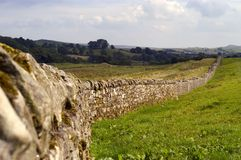 Hadrian wall. Build in 102 AD by emperor Hadrianus to mark the border of the Roman Empire Stock Photography