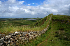 Hadrian Wall. Part of the Hadrians wall overlooking the landscape royalty free stock images