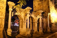 Hadrians Gate in Antalya, Turkey. Ancient Hadrians Gate in Antalya City, Turkey Stock Photography