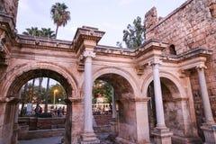 Hadrians Gate in Antalya, Turkey. Ancient Hadrians Gate in Antalya City, Turkey Stock Photo
