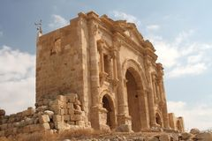 Hadrians Gate Jerash City Jordan Royalty Free Stock Photography