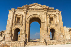 Hadrians Gate in Ruins of Jerash in Jordan Stock Photos