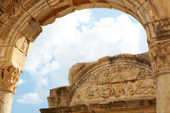 Hadrians Temple. Hadians Temple in the old ruins of the city of Ephesus in modern day Turkey Royalty Free Stock Image
