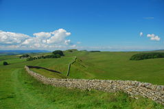 Hadrian wall landscape, England. The Hadrian wall, former northern border of the Roman empire. England, Great Britain stock photography