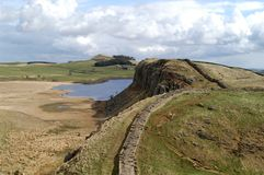 Hadrians Wall. And Crag Lough Royalty Free Stock Photos