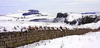Hadrians Wall. Winter View on Hadrians Wall Northumberland Royalty Free Stock Photos