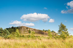 Hadrians Wall above crags Royalty Free Stock Images