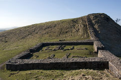 Hadrians wall fort ruins. One of the roman forts along hadrians wall Royalty Free Stock Photos