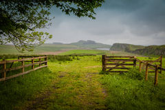 Hadrians Wall. Green meadows and hills along Hadrian's Wall Stock Image