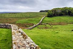 Hadrians Wall, Northumberland , England. View of Hadrians Wall near the border of England and Scotland Royalty Free Stock Photo