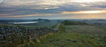 Hadrians Wall panorama. Moody panorama of Hadrians Wall in Northumberland on the Scottish Border Stock Photos