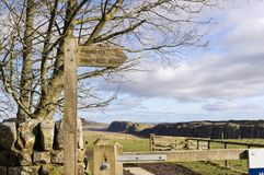 Hadrians Wall sign post Stock Photography