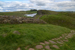 Hadrians Wall - Steel Rigg. A view of Hadrian's Wall in England, from Steel Rigg towards Housesteads Roman Fort Stock Photo