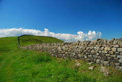Hadrian wall trail, english country landscape. National hiking trail along the Hadrian wall, former northern border of the Roman empire. England, Great Britain stock images