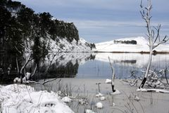 Hadrians Wall in winter. From Crag Loch Royalty Free Stock Photo
