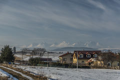 Hadusovce village and Tatry mountains Royalty Free Stock Photography