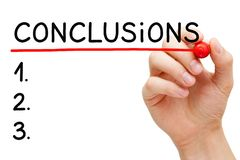 Hadwritten Conclusions Blank List Concept royalty free stock images