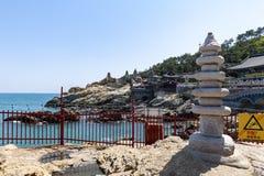 Haedong Yonggungsa, Buddhist temple on seaside of Busan, one of tourist landmarks and attractions in Busan, South Korea. Busan, South Korea – April 2019 stock photography