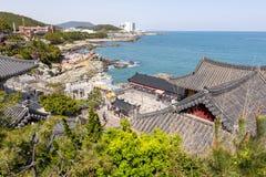 Haedong Yonggungsa, Buddhist temple on seaside of Busan, one of tourist landmarks and attractions in Busan, South Korea. Busan, South Korea – April 2019 stock photo